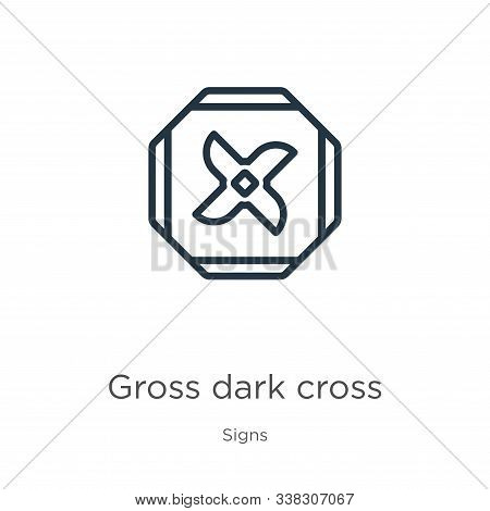 Gross Dark Cross Icon. Thin Linear Gross Dark Cross Outline Icon Isolated On White Background From S