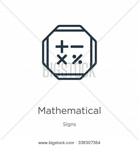 Mathematical Symbols Icon. Thin Linear Mathematical Symbols Outline Icon Isolated On White Backgroun