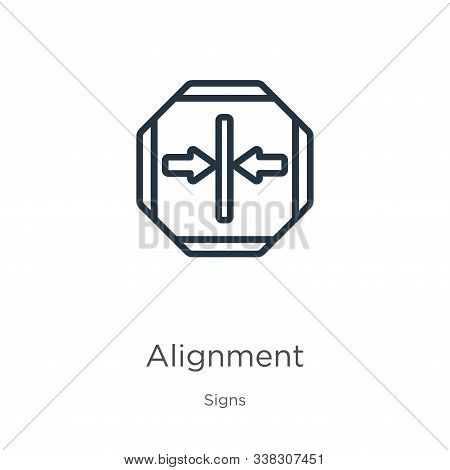 Alignment Icon. Thin Linear Alignment Outline Icon Isolated On White Background From Signs Collectio