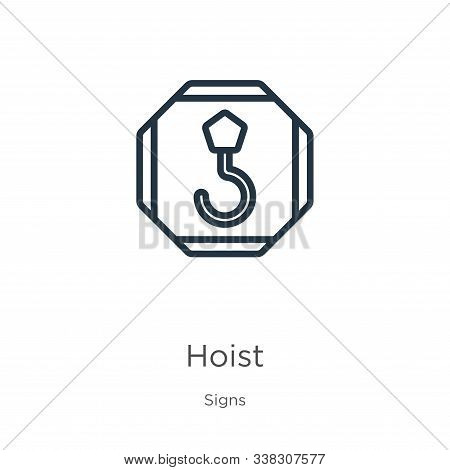 Hoist Icon. Thin Linear Hoist Outline Icon Isolated On White Background From Signs Collection. Line