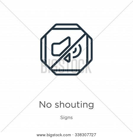 No Shouting Icon. Thin Linear No Shouting Outline Icon Isolated On White Background From Signs Colle