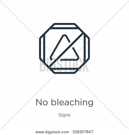 No Bleaching Icon. Thin Linear No Bleaching Outline Icon Isolated On White Background From Signs Col