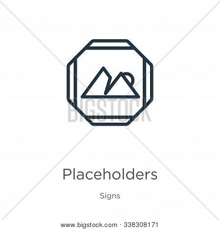 Placeholders Icon. Thin Linear Placeholders Outline Icon Isolated On White Background From Signs Col