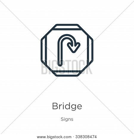 Bridge Icon. Thin Linear Bridge Outline Icon Isolated On White Background From Signs Collection. Lin