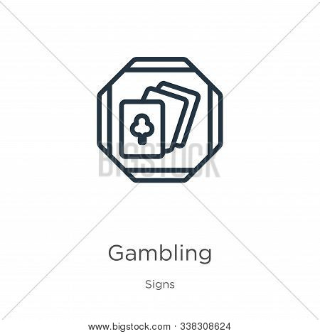 Gambling Icon. Thin Linear Gambling Outline Icon Isolated On White Background From Signs Collection.