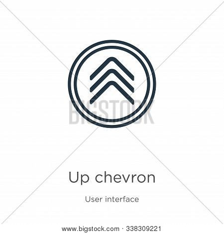 Up Chevron Icon. Thin Linear Up Chevron Outline Icon Isolated On White Background From User Interfac