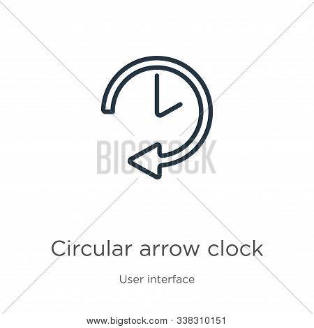 Circular Arrow Clock Icon. Thin Linear Circular Arrow Clock Outline Icon Isolated On White Backgroun