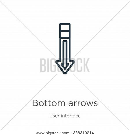 Bottom Arrows Icon. Thin Linear Bottom Arrows Outline Icon Isolated On White Background From User In