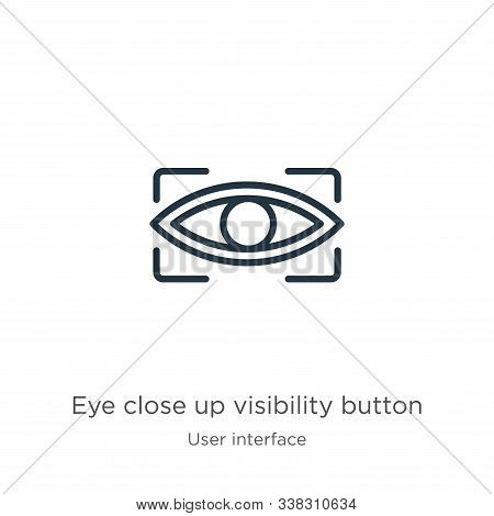 Eye Close Up Visibility Button Icon. Thin Linear Eye Close Up Visibility Button Outline Icon Isolate