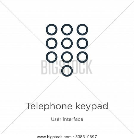 Telephone Keypad Icon. Thin Linear Telephone Keypad Outline Icon Isolated On White Background From U