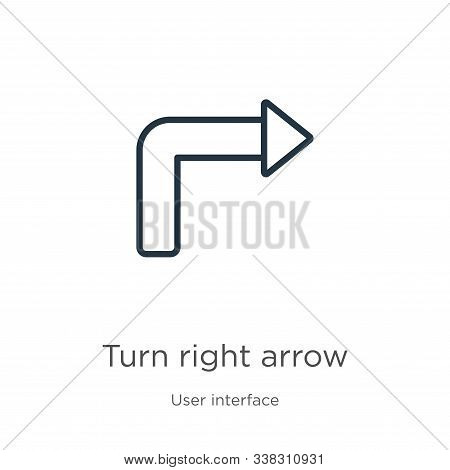Turn Right Arrow Icon. Thin Linear Turn Right Arrow Outline Icon Isolated On White Background From U