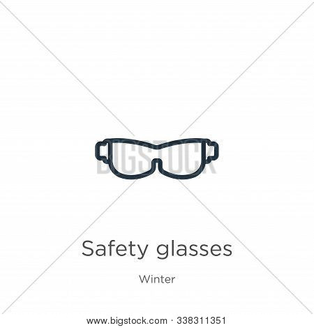 Safety Glasses Icon. Thin Linear Safety Glasses Outline Icon Isolated On White Background From Winte