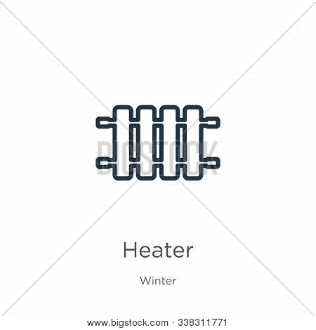 Heater Icon. Thin Linear Heater Outline Icon Isolated On White Background From Winter Collection. Li