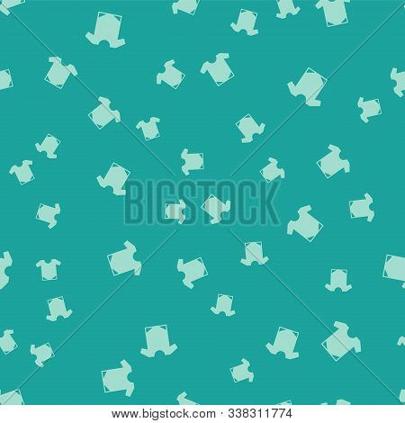 Green Baby Onesie Icon Isolated Seamless Pattern On Green Background. Baby Clothes Symbol. Kid Wear