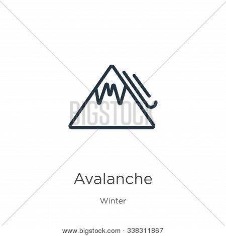 Avalanche Icon. Thin Linear Avalanche Outline Icon Isolated On White Background From Winter Collecti