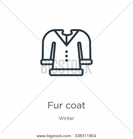 Fur Coat Icon. Thin Linear Fur Coat Outline Icon Isolated On White Background From Winter Collection