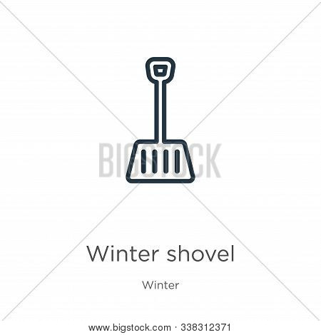 Winter Shovel Icon. Thin Linear Winter Shovel Outline Icon Isolated On White Background From Winter