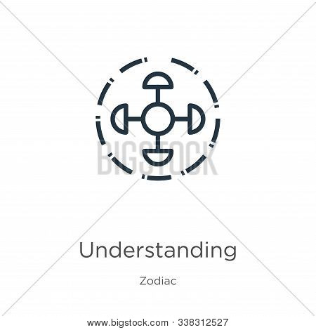 Understanding Icon. Thin Linear Understanding Outline Icon Isolated On White Background From Zodiac