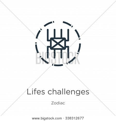 Lifes Challenges Icon. Thin Linear Lifes Challenges Outline Icon Isolated On White Background From Z