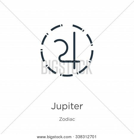 Jupiter Icon. Thin Linear Jupiter Outline Icon Isolated On White Background From Zodiac Collection.