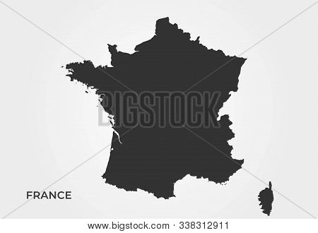 France Map Icon. Black Silhouette Simple Style Isolated Vector Geographic Template. Map Of France Wi