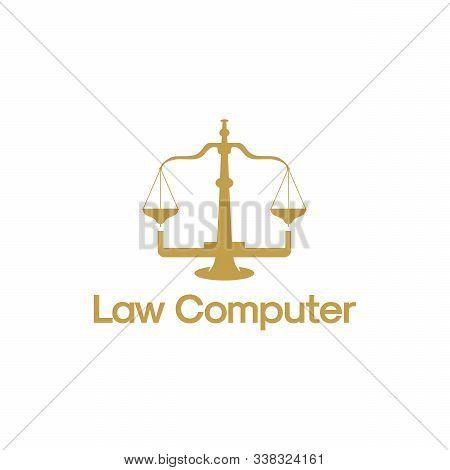 Law Computer Logo Template, Online Arbitrator Logo Designs Vector