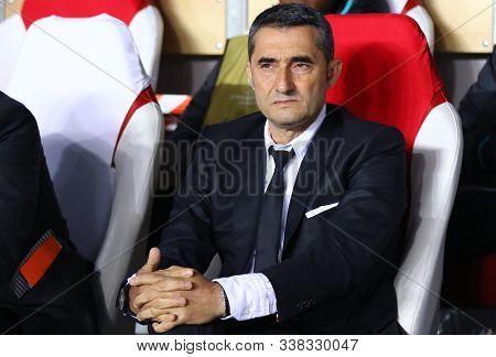 Prague, Czechia - October 23, 2019: Barcelona Manager Ernesto Valverde Looks On During The Uefa Cham
