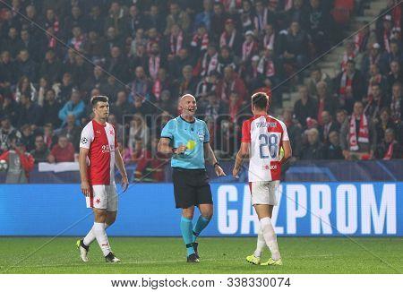 Prague, Czechia - October 23, 2019: Referee Bobby Madden (sco) Shows Yellow Card To Lukas Masopust D