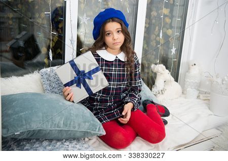Is It Too Late To Be Good. Unhappy Child On St. Nicholas Day. Little Girl Hold Present Box With Unha