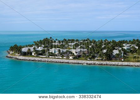 Aerial View Of Homes On Sunset Key, A 27-acre Residential Neighborhood And Resort Island In The City