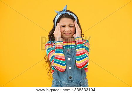 Depression Concept. Seasonal Affective Disorder. Kid Girl Painful Face Suffer Depression. Headache A
