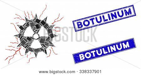 Mosaic Atomic Power Sparks Icon And Rectangular Botulinum Seal Stamps. Flat Vector Atomic Power Spar