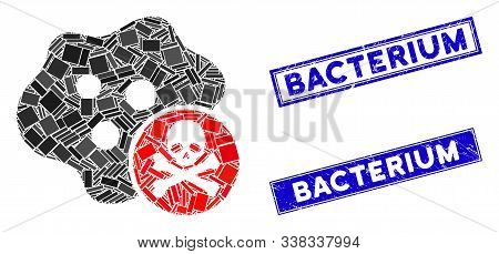 Mosaic bactericidal toxin icon and rectangle Bacterium rubber prints. Flat vector bactericidal toxin mosaic icon of scattered rotated rectangle elements. poster