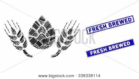 Mosaic Beer Components Pictogram And Rectangular Fresh Brewed Seal Stamps. Flat Vector Beer Componen