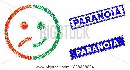 Mosaic Bipolar Emotion Pictogram And Rectangular Paranoia Seal Stamps. Flat Vector Bipolar Emotion M