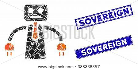 Mosaic Boss Robot Icon And Rectangular Sovereign Seal Stamps. Flat Vector Boss Robot Mosaic Icon Of