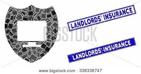 Mosaic Computer Insurance Pictogram And Rectangular Landlords Insurance Stamps. Flat Vector Computer