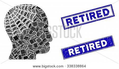 Mosaic Conservator Head Icon And Rectangular Retired Stamps. Flat Vector Conservator Head Mosaic Ico