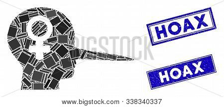 Mosaic Female Scammer Icon And Rectangular Hoax Seal Stamps. Flat Vector Female Scammer Mosaic Icon