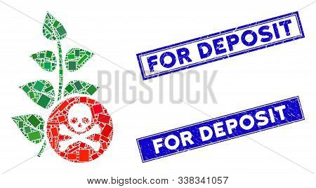 Mosaic Herbicide Toxin Pictogram And Rectangular For Deposit Watermarks. Flat Vector Herbicide Toxin