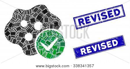 Mosaic Infected Pictogram And Rectangular Revised Seal Stamps. Flat Vector Infected Mosaic Pictogram