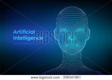 Ai. Artifactial Intelligence Concept. Abstract Digital Human Face. Human Head In Robot Digital Compu