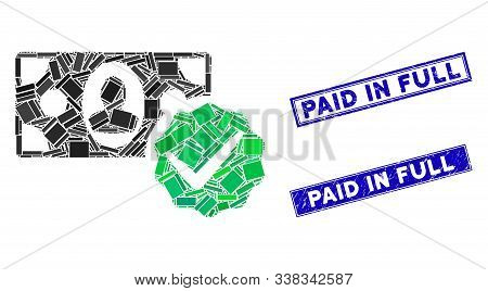Mosaic Paid In Full Pictogram And Rectangle Paid In Full Seals. Flat Vector Paid In Full Mosaic Pict