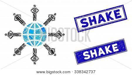 Mosaic Planetary Society Icon And Rectangle Shake Seal Stamps. Flat Vector Planetary Society Mosaic