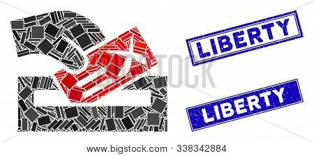 Mosaic Protest Poll Icon And Rectangular Liberty Seals. Flat Vector Protest Poll Mosaic Icon Of Scat