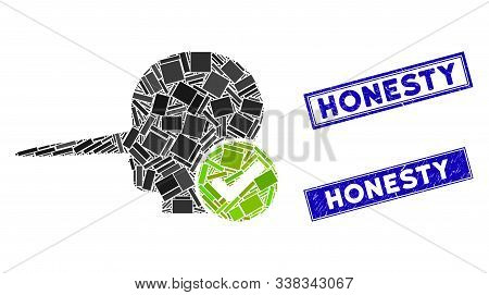 Mosaic Real Liar Icon And Rectangular Honesty Watermarks. Flat Vector Real Liar Mosaic Icon Of Scatt