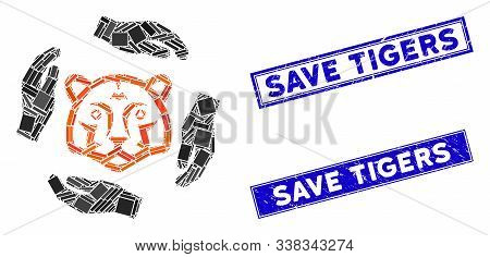 Mosaic Save Tigers Icon And Rectangular Save Tigers Seal Stamps. Flat Vector Save Tigers Mosaic Icon