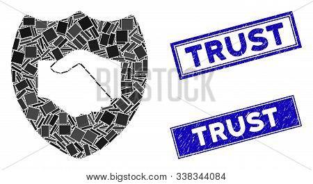 Mosaic Trust Pictogram And Rectangular Trust Stamps. Flat Vector Trust Mosaic Pictogram Of Randomize