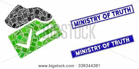 Mosaic Vote Yes Icon And Rectangle Ministry Of Truth Stamps. Flat Vector Vote Yes Mosaic Icon Of Ran