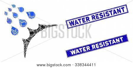 Mosaic Water Proof Icon And Rectangle Water Resistant Seal Stamps. Flat Vector Water Proof Mosaic Ic